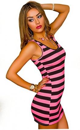 Top Longtop Minikleid Tanktop Shirt neon gestreift rosa pink gelb S/M neu (pink-schwarz) - 1
