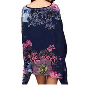 Top One Damen mit Blumen Chiffon Blusen lange Hieb Hülsen Hemd Oberseiten - 2