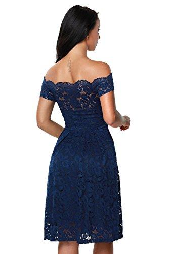 TOUVIE Damen Elegant Abendkleid Cocktailkleid Schulterfreies Knielang Festlich Kleider Spitzenkleid Blau S - 2
