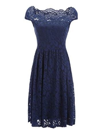 TOUVIE Damen Elegant Abendkleid Cocktailkleid Schulterfreies Knielang Festlich Kleider Spitzenkleid Blau S - 3