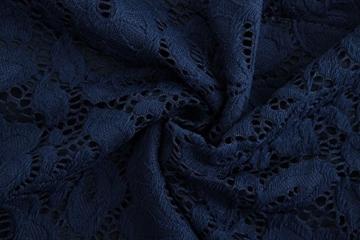 TOUVIE Damen Elegant Abendkleid Cocktailkleid Schulterfreies Knielang Festlich Kleider Spitzenkleid Blau S - 4