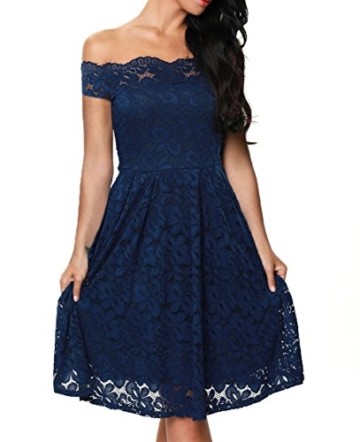 TOUVIE Damen Elegant Abendkleid Cocktailkleid Schulterfreies Knielang Festlich Kleider Spitzenkleid Blau S - 1