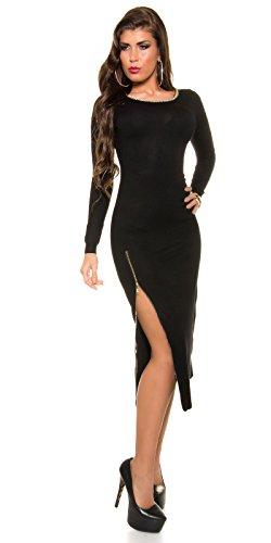 Trendy KouCla Feinstrick Kleid mit Reißverschluss One Size schwarz - 1