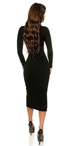Trendy KouCla Feinstrick Kleid mit Reißverschluss One Size schwarz - 2
