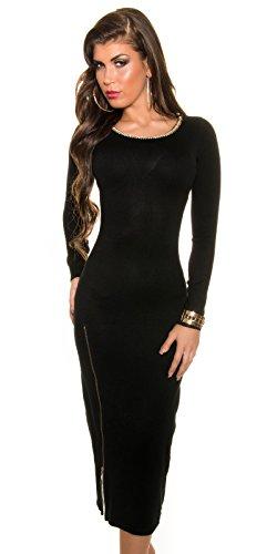 Trendy KouCla Feinstrick Kleid mit Reißverschluss One Size schwarz - 3