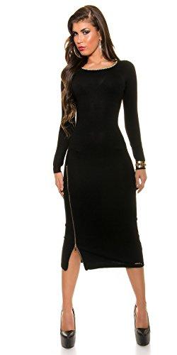 Trendy KouCla Feinstrick Kleid mit Reißverschluss One Size schwarz - 4