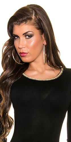 Trendy KouCla Feinstrick Kleid mit Reißverschluss One Size schwarz - 5