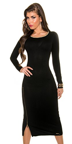 Trendy KouCla Feinstrick Kleid mit Reißverschluss One Size schwarz - 6