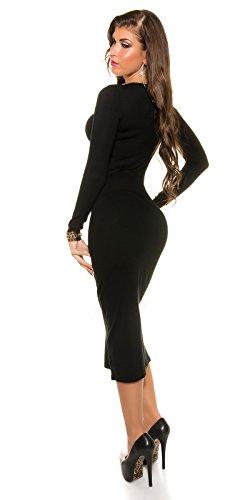 Trendy KouCla Feinstrick Kleid mit Reißverschluss One Size schwarz - 7