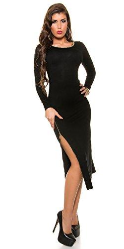 Trendy KouCla Feinstrick Kleid mit Reißverschluss One Size schwarz - 8