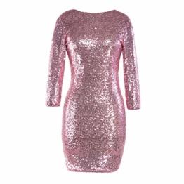 TUDUZ Kleider Festlich Langarm Damen V-Ausschnitt Sparkly Stretch Pailletten Bodycon Party Minikleid Freundin Kreativ Geschenk (T-Rosa, S) - 1