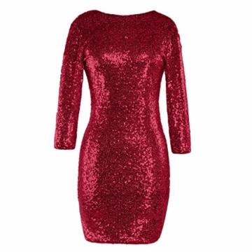 TUDUZ Kleider Festlich Langarm Damen V-Ausschnitt Sparkly Stretch Pailletten Bodycon Party Minikleid Freundin Kreativ Geschenk (T-Rot, S) - 1
