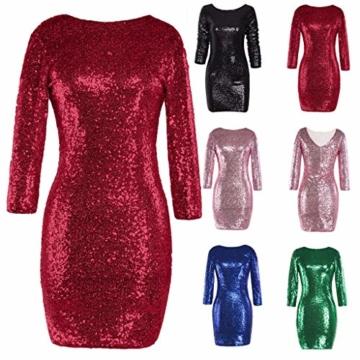 TUDUZ Kleider Festlich Langarm Damen V-Ausschnitt Sparkly Stretch Pailletten Bodycon Party Minikleid Freundin Kreativ Geschenk (T-Rot, S) - 3