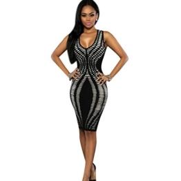 TWBB Bekleidung Damen Kleider, Sexy Kleid V Ausschnitt Verband Cocktail Ärmellos Schlank Abend Party Kleider Paket Hip Kleid (M, Schwarz) - 1