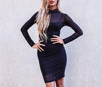 Uideazone Damen Damen Party Mini Kleid Mesh Sheer Langarm Bodycon Schwarz L -