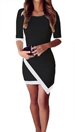 Ularmo Reizvolle Frauen-Verband Bodycon Abend-Partei-Minikleid Unregelmäßige (XL, Schwarz) -