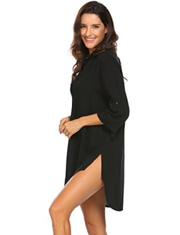 Unibelle Strandkleid Damen Bikini Cover Up Tunika Bluse Lang Strandkleid Damen Shirt Strandponcho Sommer Cuffed Sleeve Shirts Tops - 4