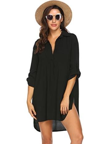 Unibelle Strandkleid Damen Bikini Cover Up Tunika Bluse Lang Strandkleid Damen Shirt Strandponcho Sommer Cuffed Sleeve Shirts Tops - 1