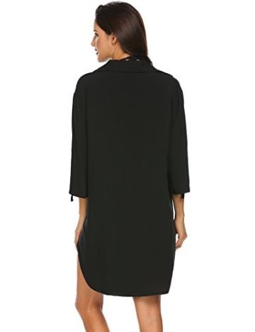 Unibelle Strandkleid Damen Bikini Cover Up Tunika Bluse Lang Strandkleid Damen Shirt Strandponcho Sommer Cuffed Sleeve Shirts Tops - 5