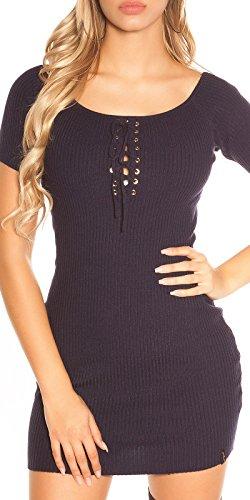 Unifarbenes Basic-Minikleid mit Zier-Schnürung One Size (Einheitsgröße) - 1