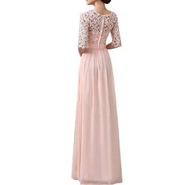 Uranus Damen Spitzen Spleiß Chiffon Cocktail Formell Maxikleid Brautjungfer Hochzeitskleider Rosa - 2
