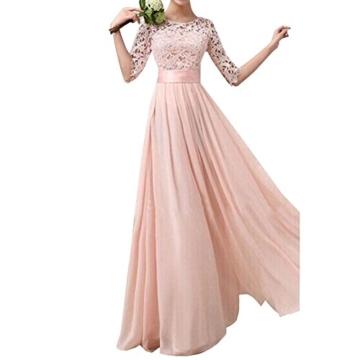 Uranus Damen Spitzen Spleiß Chiffon Cocktail Formell Maxikleid Brautjungfer Hochzeitskleider Rosa - 1