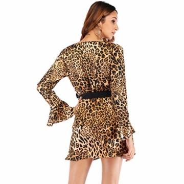 Vectry Kleider Damen Weihnachten Kostüm Festlich Cocktailkleid Abendkleid Sommerkleider Spitzenkleid Mädchen Verein Kleidung, Sexy Leopard V-Ausschnitt Lose Langarm Kurz Partykleid Blusenkleid - 5