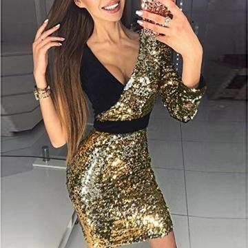VEMOW 2018 Damen Ballkleid Figurbetontes Kleid Tiefem V-Ausschnitt Karneval Bling Pailletten Splice Minikleid Cocktailkleid(Gold, EU-34/CN-S) - 2