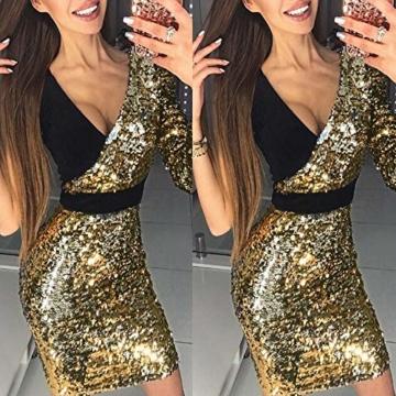 VEMOW 2018 Damen Ballkleid Figurbetontes Kleid Tiefem V-Ausschnitt Karneval Bling Pailletten Splice Minikleid Cocktailkleid(Gold, EU-34/CN-S) - 3