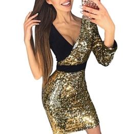 VEMOW 2018 Damen Ballkleid Figurbetontes Kleid Tiefem V-Ausschnitt Karneval Bling Pailletten Splice Minikleid Cocktailkleid(Gold, EU-34/CN-S) - 1