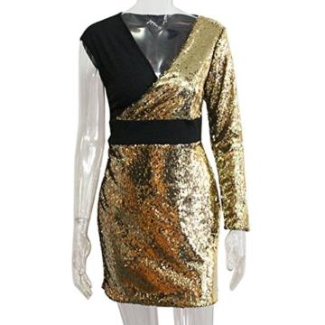 VEMOW 2018 Damen Ballkleid Figurbetontes Kleid Tiefem V-Ausschnitt Karneval Bling Pailletten Splice Minikleid Cocktailkleid(Gold, EU-34/CN-S) - 4