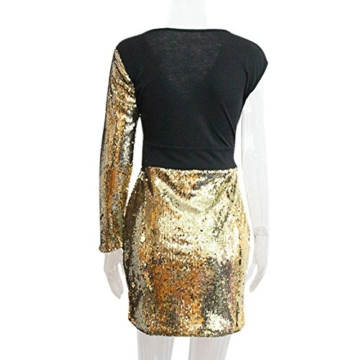 VEMOW 2018 Damen Ballkleid Figurbetontes Kleid Tiefem V-Ausschnitt Karneval Bling Pailletten Splice Minikleid Cocktailkleid(Gold, EU-34/CN-S) - 5