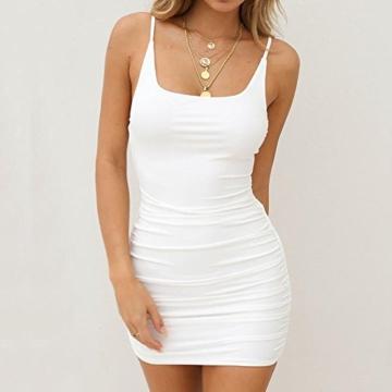 VEMOW Sommer Elegante Damen Leibchen Bodycon Sleeveless beiläufige tägliche Party Beach Holiday Mini Kleid Mode Kleid(Weiß, 44 DE/XL CN) - 2