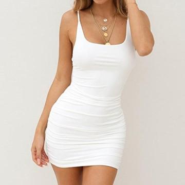 VEMOW Sommer Elegante Damen Leibchen Bodycon Sleeveless beiläufige tägliche Party Beach Holiday Mini Kleid Mode Kleid(Weiß, 44 DE/XL CN) - 3