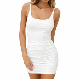 VEMOW Sommer Elegante Damen Leibchen Bodycon Sleeveless beiläufige tägliche Party Beach Holiday Mini Kleid Mode Kleid(Weiß, 44 DE/XL CN) - 1