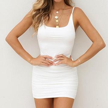 VEMOW Sommer Elegante Damen Leibchen Bodycon Sleeveless beiläufige tägliche Party Beach Holiday Mini Kleid Mode Kleid(Weiß, 44 DE/XL CN) - 4