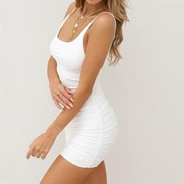 VEMOW Sommer Elegante Damen Leibchen Bodycon Sleeveless beiläufige tägliche Party Beach Holiday Mini Kleid Mode Kleid(Weiß, 44 DE/XL CN) - 5