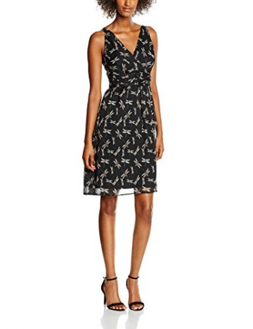 VERO MODA Damen Kleid Vmjosephine Lynn SL Dress E10, Schwarz (Black Aop:Dragonfly), 36 (Herstellergröße: S) -