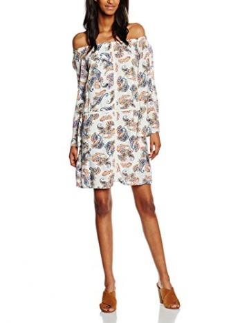 VERO MODA Damen Kleid Vmmoss W/L Dress Nfs NO, Weiß (Snow White Aop:Easy Print), 36 (Herstellergröße: S) -