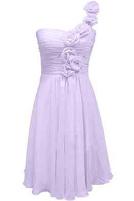 Victory Bridal Glamour Ein-Schulter mit Blumen Minikleider Abendkleider Kurz Chiffon Cocktailkleider Sommerkleider Brautjungfernkleider-40 Flieder - 1