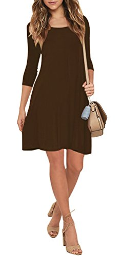 VIISHOW Herbst/Winter Damen Fashion Casual Kleid 3/4 Ärmel Mini Kleid (Kaffee M) -