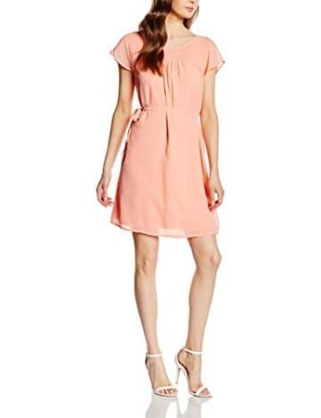 VILA CLOTHES Damen Kleid Vigloria Dress, Orange (Desert Flower), 38 (Herstellergröße: M) -