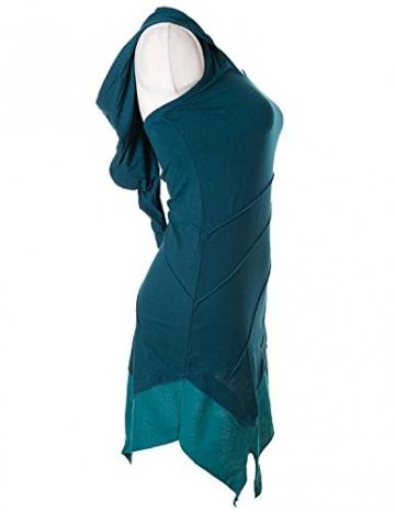 Vishes - Alternative Bekleidung - Asymetrischer Neckholder aus Baumwolle mit Zipfelkapuze - zweifarbig türkis 38 - 2