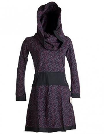 Vishes - Alternative Bekleidung - Bedrucktes Kleid aus Baumwolle mit Schalkragen schwarz-rot 38/40 - 6