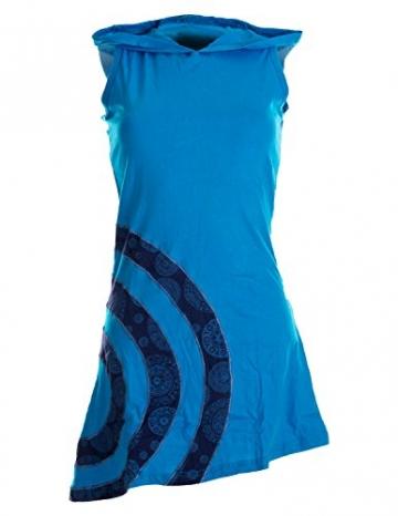 Vishes - Alternative Bekleidung - Ärmelloses Minikleid aus Baumwolle mit Zipfelkapuze und konzentrischen Kreisen türkis 36/38 - 1