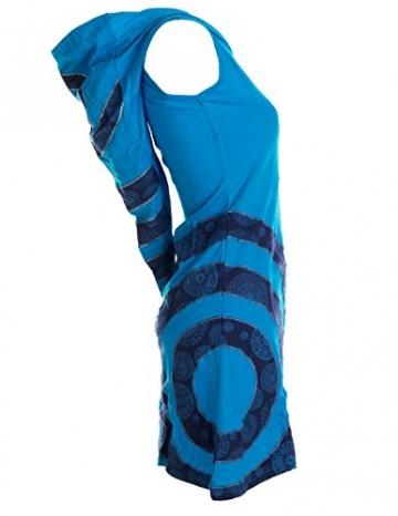 Vishes - Alternative Bekleidung - Ärmelloses Minikleid aus Baumwolle mit Zipfelkapuze und konzentrischen Kreisen türkis 36/38 - 3