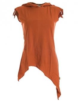 Vishes - Alternative Bekleidung -Pixie Zipfelshirt mit Zipfelkapuze aus Baumwolle orange 46/48 - 1