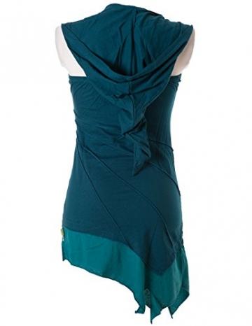 Vishes - Alternative Bekleidung - Asymetrischer Neckholder aus Baumwolle mit Zipfelkapuze - zweifarbig türkis 38 - 3