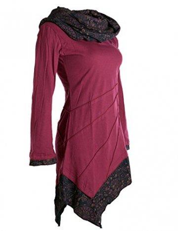 Vishes - Alternative Bekleidung - Asymmetrisches Kleid aus Baumwolle mit Schalkragen dunkelrot 38 -