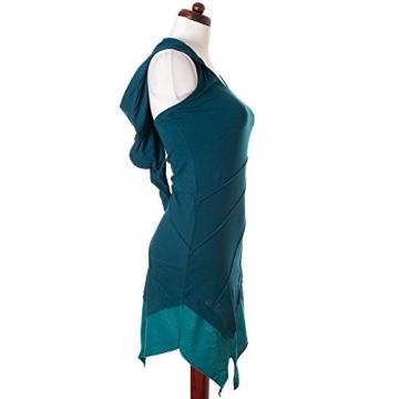Vishes - Alternative Bekleidung - Asymetrischer Neckholder aus Baumwolle mit Zipfelkapuze - zweifarbig türkis 38 - 4